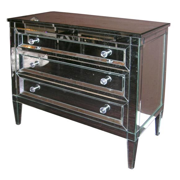 Custom Mirrored Dresser with Beveled Edges