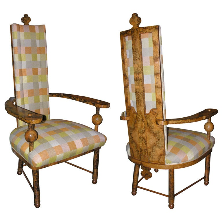 pair of burled wood chairs by lehr and leubert munich 1933 at 1stdibs. Black Bedroom Furniture Sets. Home Design Ideas