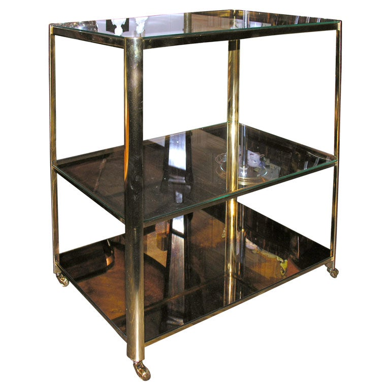 Bronze Triple Tier Bar Cart By Jacques Quinet French