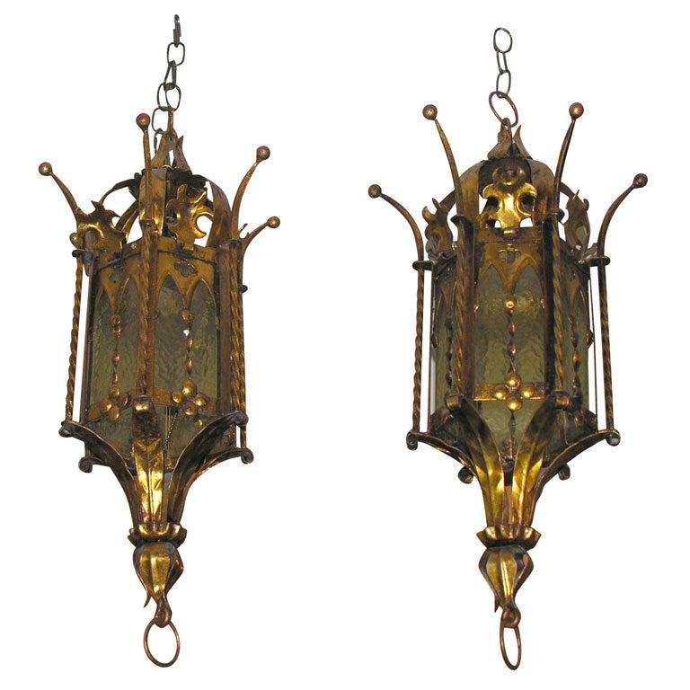 Pair of Gilt Metal Lanterns