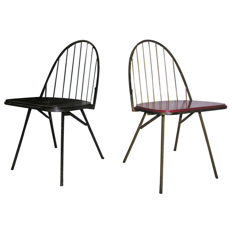Pair of french metal chairs at 1stdibs