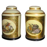 Pair oval English hand painted tea canister lamps