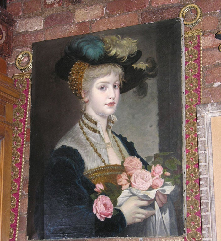 Oil on Canvas of Pretty Lady with Roses