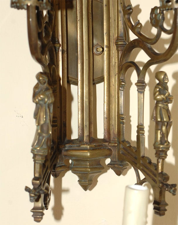 Large Pair of bronze Gothic Revival Sconces at 1stdibs