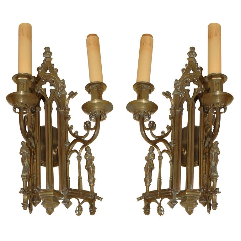 Large Gothic Wall Sconces : Large Pair of bronze Gothic Revival Sconces at 1stdibs