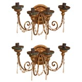 Pair of 19th c Italian Bois Dore Sconces