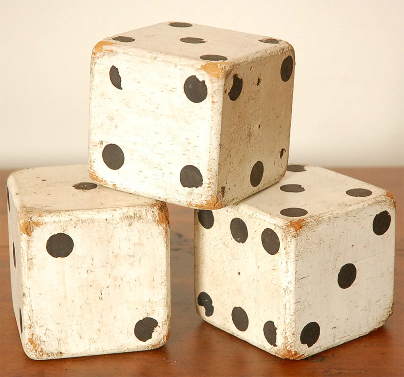 1930'S ORIGINAL WHITE PAINTED  DICES 2