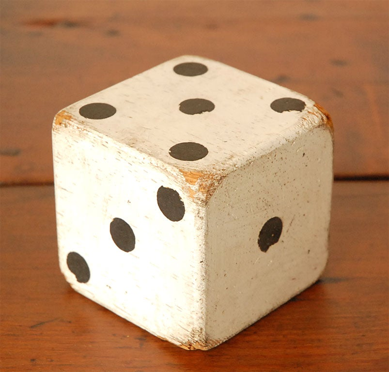 1930'S ORIGINAL WHITE PAINTED  DICES 5