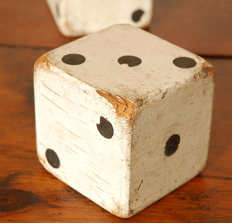 1930'S ORIGINAL WHITE PAINTED  DICES 6