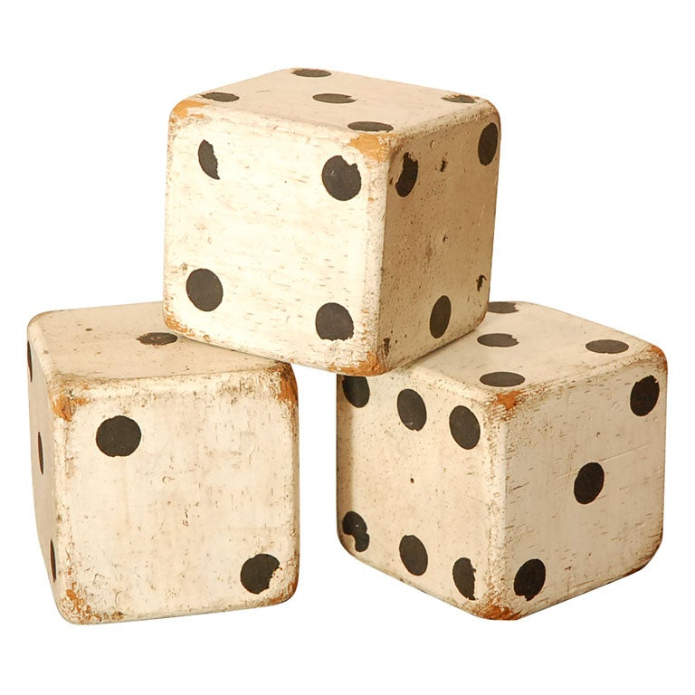 1930'S ORIGINAL WHITE PAINTED  DICES 1