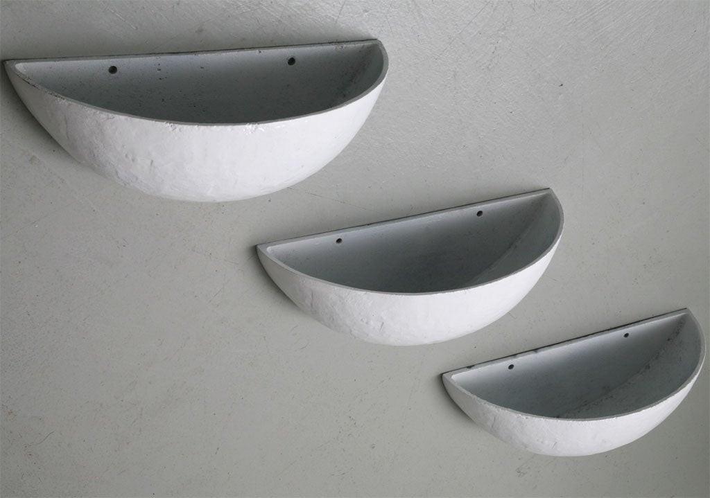 Trio of iron Mid Century Wall Planters image 6