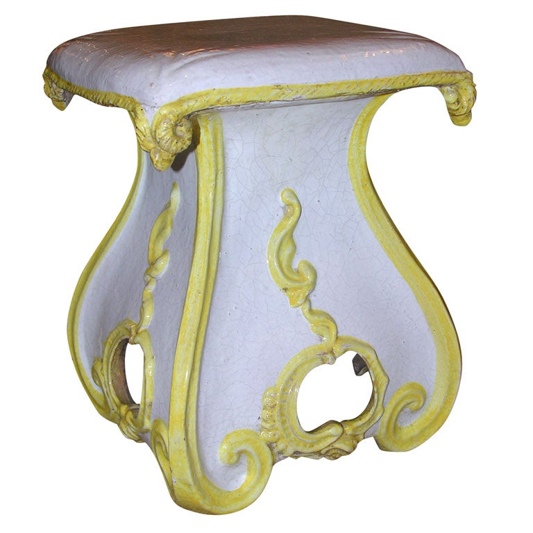 Highly Decorative Italian Ceramic Garden Stool At 1stdibs