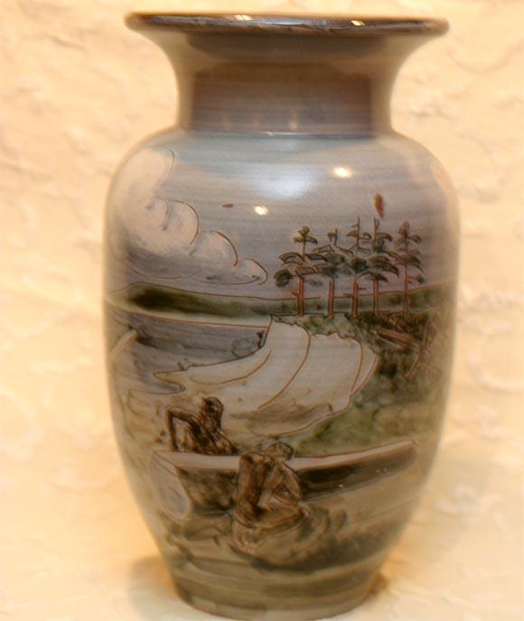 Danish pale blue ceramic vase by Knabstrup pottery factory, depicting men on the shore building a Viking Ship