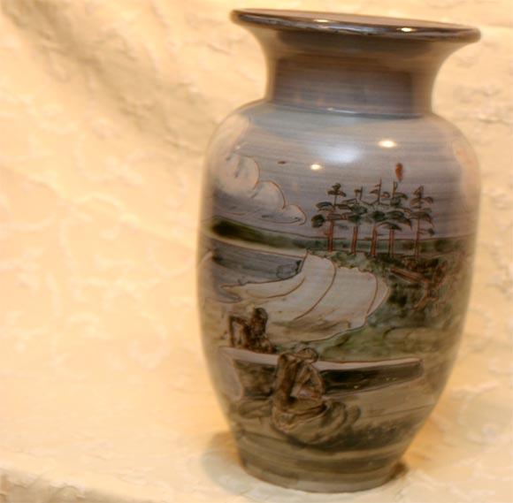 Danish Large Ceramic Knabstrup Vase by Harald Folmer Gross For Sale