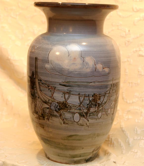 Mid-20th Century Large Ceramic Knabstrup Vase by Harald Folmer Gross For Sale