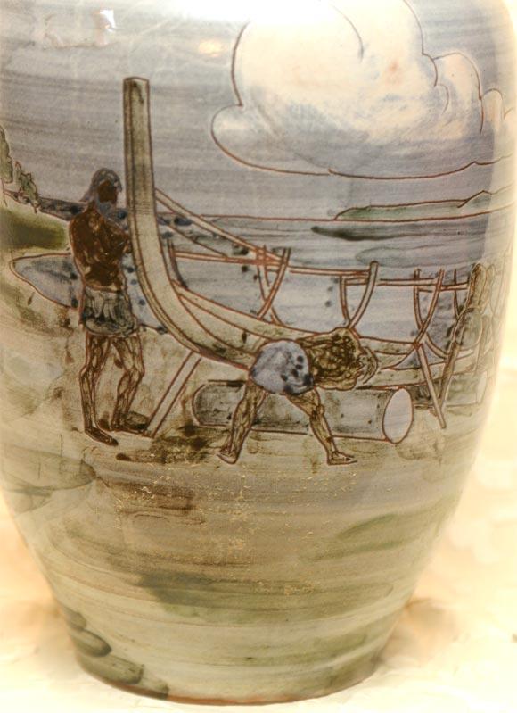 Large Ceramic Knabstrup Vase by Harald Folmer Gross For Sale 1