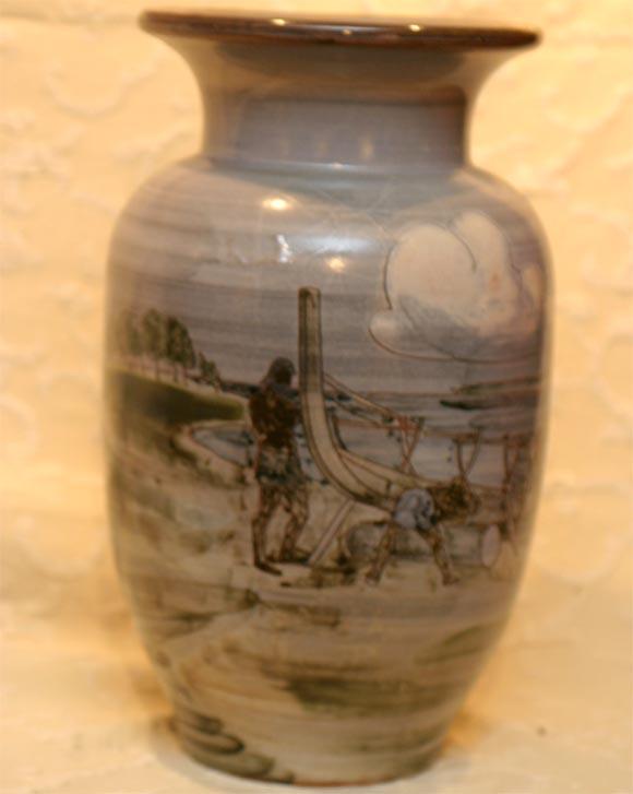 Large Ceramic Knabstrup Vase by Harald Folmer Gross For Sale 2