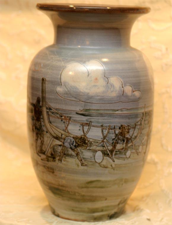 Large Ceramic Knabstrup Vase by Harald Folmer Gross For Sale 3