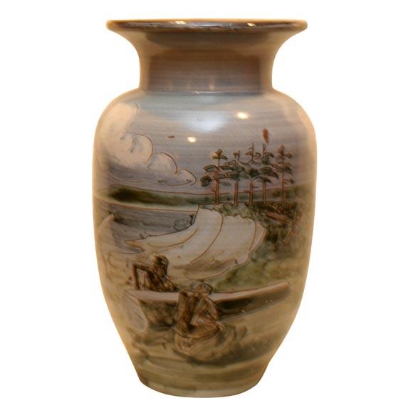 large ceramic knabstrup vase by harald folmer gross at 1stdibs. Black Bedroom Furniture Sets. Home Design Ideas