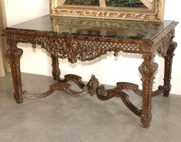 19th Century Louis XIV Italian Console Table with Green Marble Top For Sale 4