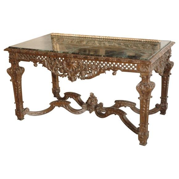 19th Century Louis XIV Italian Console Table with Green Marble Top 2