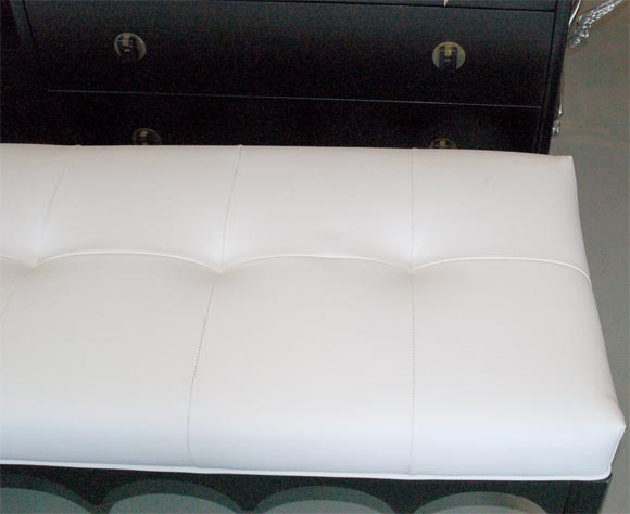 Bench With White Leather Tufted Seat At 1stdibs
