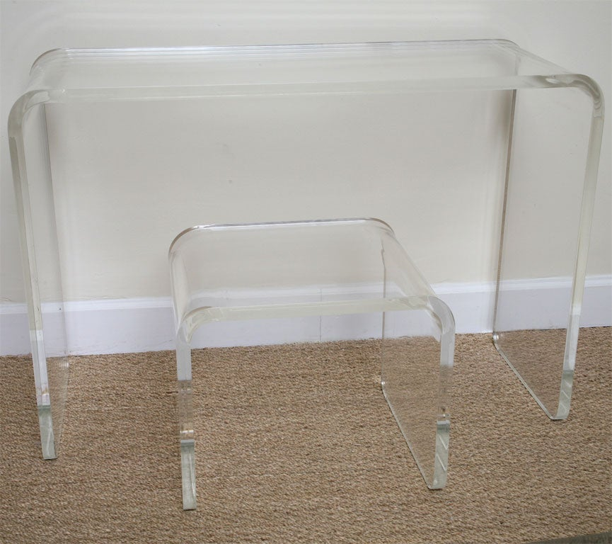 Waterfall Lucite Vanity With Bench At 1stdibs