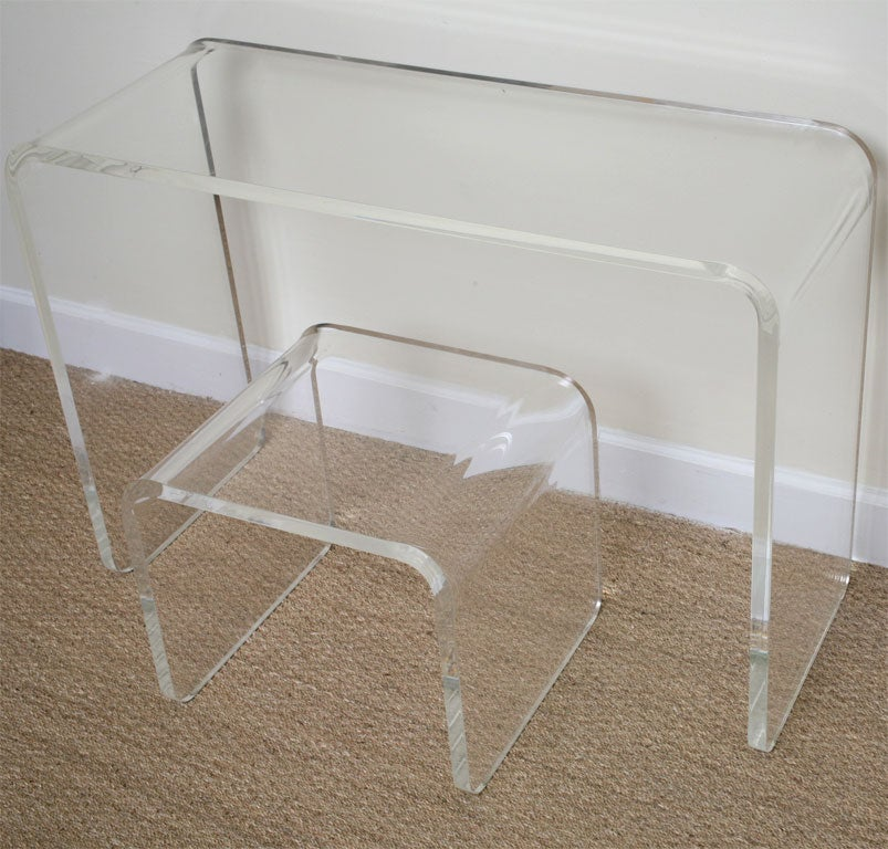 acrylic vanity bench | Waterfall Lucite Vanity with Bench at 1stdibs