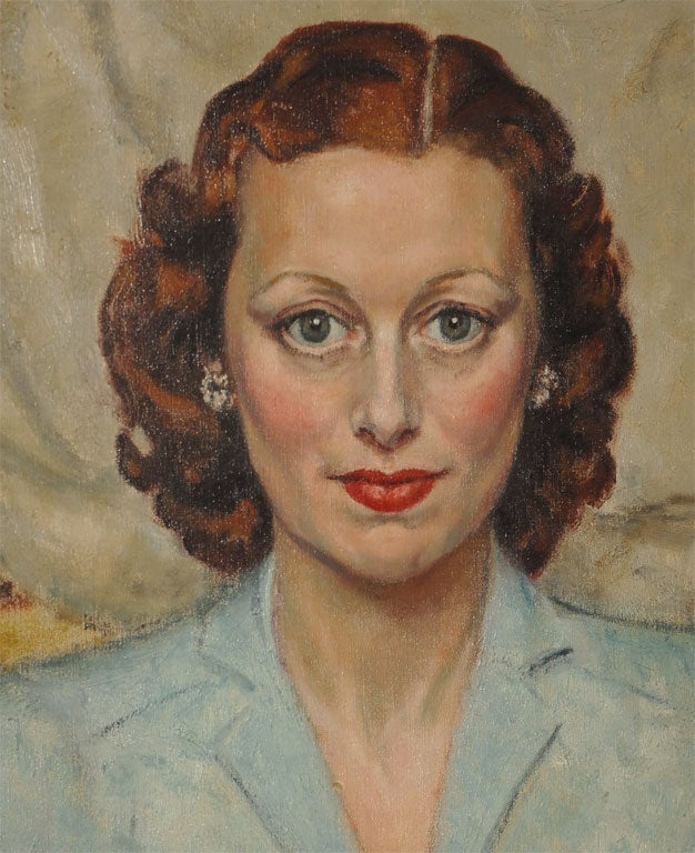 Painted Mid 20th Century Portrait of a Woman