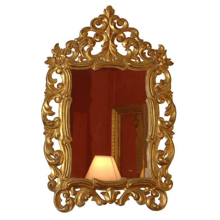 Baroque style giltwood mirror at 1stdibs for Small baroque mirror