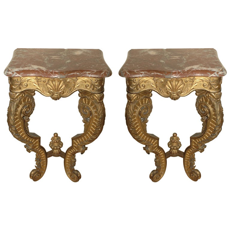Pair of Italian Giltwood and Marble consoles, 19th Century