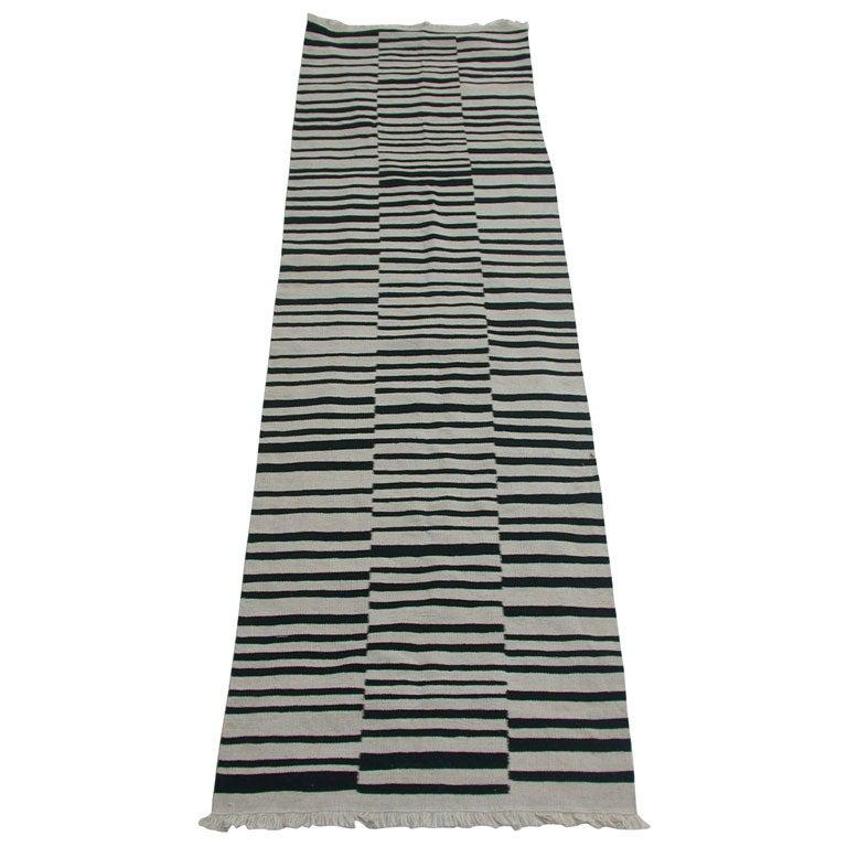 Black and White Tribal striped runner