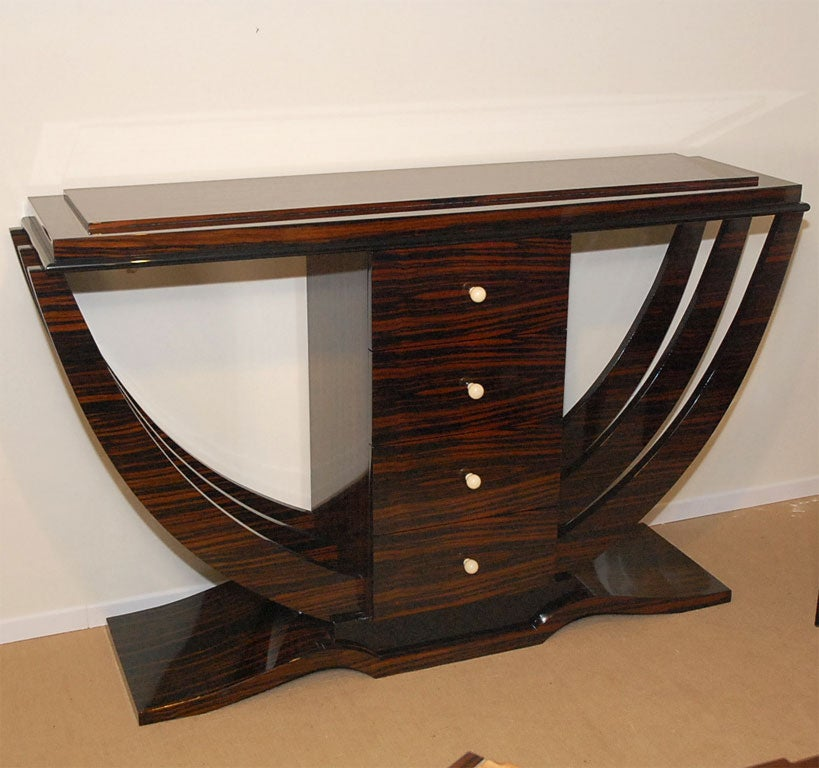 macassar ebony art deco console with four drawers for sale. Black Bedroom Furniture Sets. Home Design Ideas