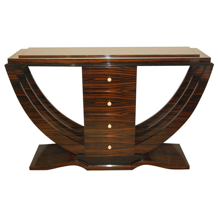 macassar ebony art deco console with four drawers for sale at 1stdibs. Black Bedroom Furniture Sets. Home Design Ideas