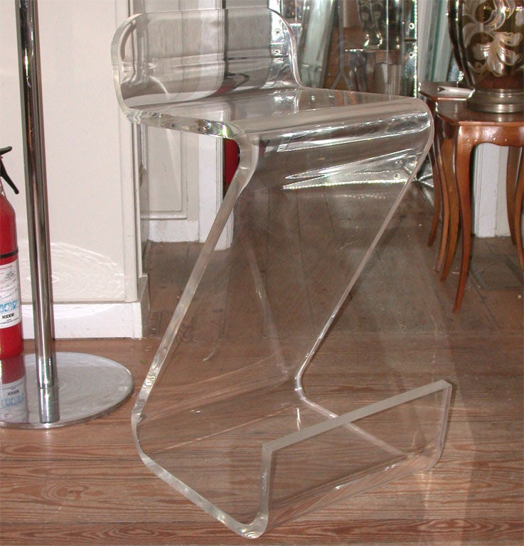 Lucite Quot Z Quot Bar Stool By Gutterman At 1stdibs