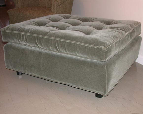 Good Wonderful Large Sage Green Mohair Velvet Upholstered Ottoman With A  Separate Sprung Cushion.