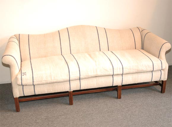 1930 S Queen Anne Style Camel Back Sofa Copy Of 18thc Upholstered In 19thc