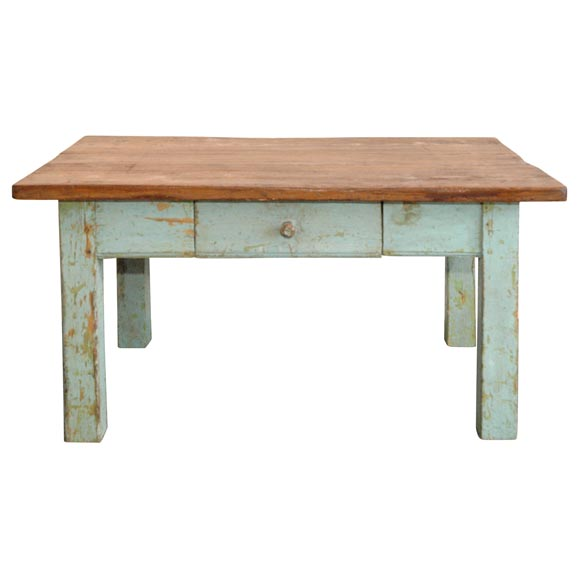 19thc Original Robin Egg Blue Farm Coffee Table From Iowa At 1stdibs