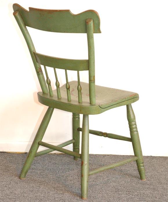 19THC ORIGINAL SAGE GREEN PAINTED PLANK BOTTOM CHAIRS/SET