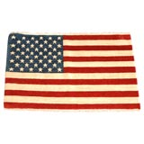 1940-1950S HAND KNOTTED FLAG RUG/WOOL