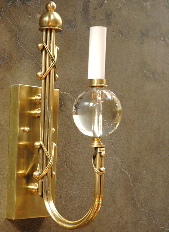 Wall Sconce With Crystal Ball : Brass and Crystal Ball Sconce at 1stdibs