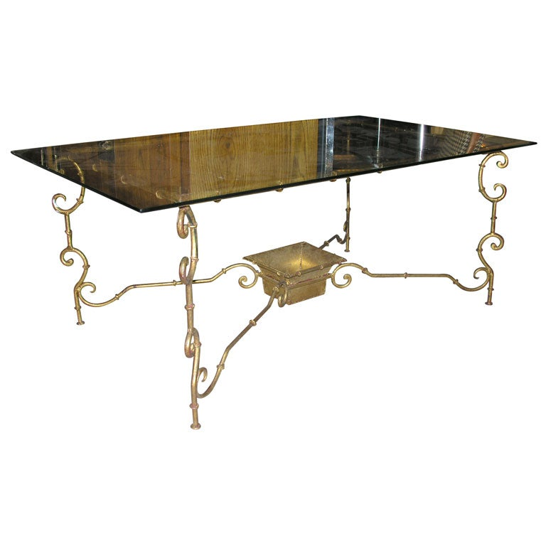 Faux Bamboo Gilt Iron Coffee Table At 1stdibs