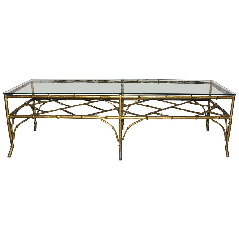 Long Iron Faux Bamboo Coffee Table At 1stdibs