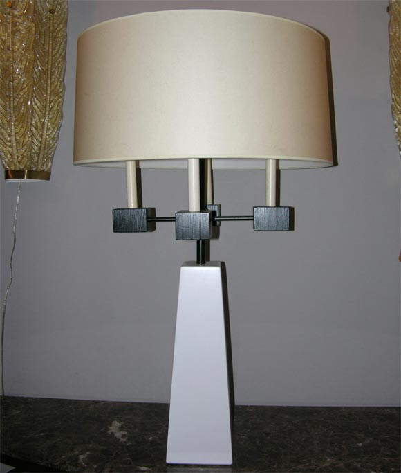A pair of classical modern candelabra table lamps. shades not included
