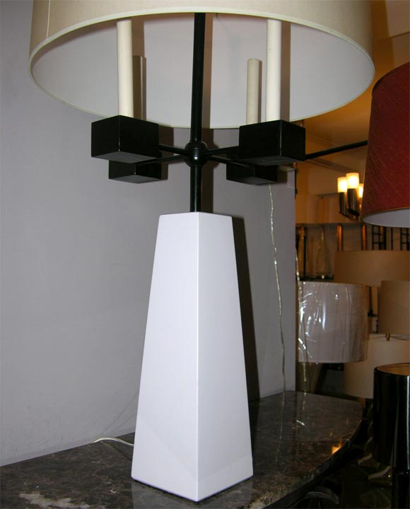 Painted Pair of Classical Modern Candelabra Table Lamps For Sale