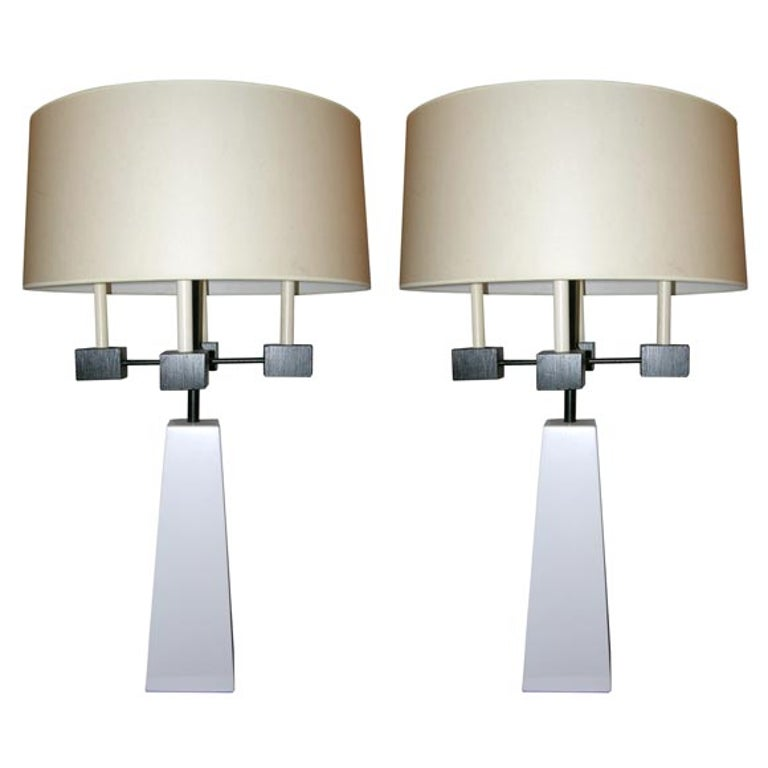 Pair of Classical Modern Candelabra Table Lamps For Sale
