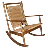 Rocker in Teak with Woven Seat and Back