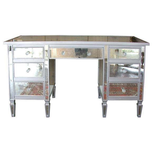 7 drawer mirrored vanity desk at 1stdibs for Vanity table with drawers no mirror