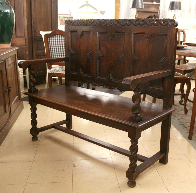 Antique Jacobean Style Flemish Hall Bench At 1stdibs
