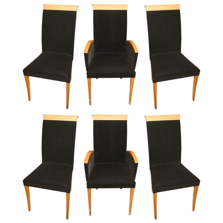 Mid century modern high back dining chairs at 1stdibs for Modern high back dining chairs